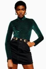 Topshop Gold Buckle Denim Skirt in Black | western style mini