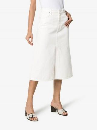 GOLDSIGN High-Waisted A-Line White Denim Skirt