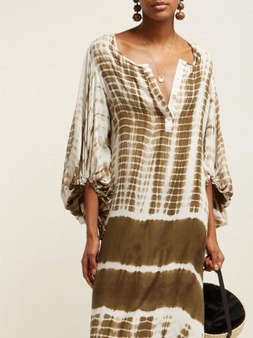 RHODE RESORT Delilah tie dye-print cotton dress in brown / summer kaftans