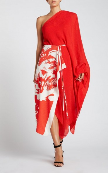 ROLAND MOURET GRAHAM DRESS in red painterly large / dramatic floral prints