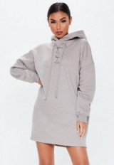MISSGUIDED grey lace up pocket front hoodie dress – sporty sweat dresses