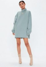 MISSGUIDED grey roll neck embroidered sweater dress ~ sporty dresses