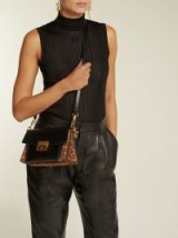 GIVENCHY GV3 mini suede and black leather cross-body bag ~ glamorous leopard print bags