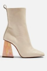 Topshop HABBS High Ankle Boots in Natural | marble effect angled heels