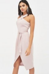 Lavish Alice halter neck wrap front midi dress in dusty pink | halterneck party dresses