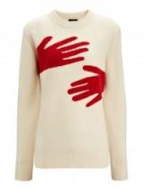 JOSEPH Hand Intarsia Knit | neutral patterned crew neck