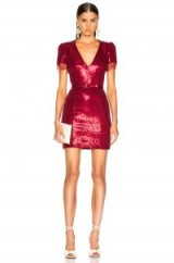 HANEY Lyz red sequin Dress   plunge front mini