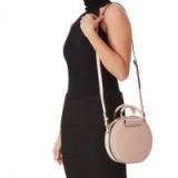 KURT GEIGER LONDON HARRIET ROUND X BODY in pink ~ leather crossbody bags