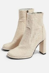 Topshop HATTIE High Ankle Boots in Natural | neutral croc embossed boots