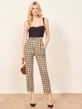 Reformation Heath Pant in Cacio | relaxed high waist checked trousers