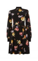 OASIS HIGH NECK BLOUSE DRESS in Black / long sleeve floral fit and flare