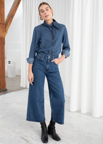 & other stories High Rise Culotte Jeans in mid blue | cropped denim