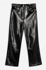 Topshop High Shine Faux Leather Trousers in Black | cropped pants