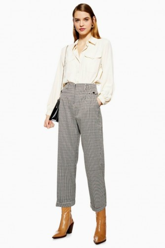 Topshop Houndstooth Check Peg Trousers in Monochrome | black and white checks