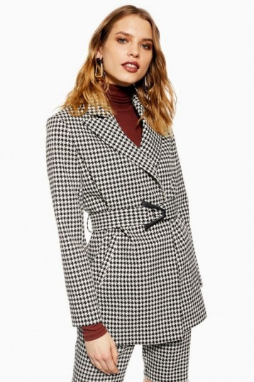 TOPSHOP Houndstooth Jacket in Monochrome – black and white check prints