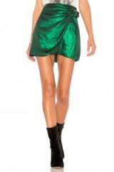House of Harlow 1960 x REVOLVE Bobbi Skirt in Emerald   metallic-green wrap skirts