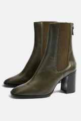 Topshop HUNT Leather Ankle Boots in Olive | dark-green winter boots