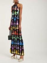 MARY KATRANTZOU Iman black perfume-print halterneck maxi dress ~ beautiful multicoloured prints