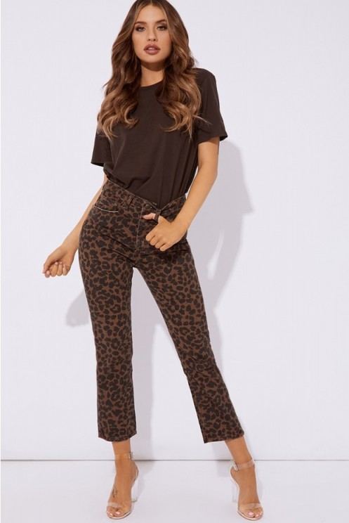 IN THE STYLE IMOGYN LEOPARD PRINT JEANS ~ animal denim