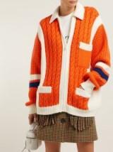 MIU MIU Orange intarsia-stripe and cable-knit wool cardigan ~ chunky retro cardi
