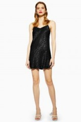Topshop Jacquard Mini Slip Dress in Black | LBD
