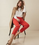 REISS JOANNE CROPPED TAILORED TROUSERS IN RED ~ colour impact pants