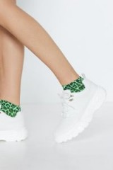 NASTY GAL Jog On Chunky Sneaker in White – sporty shoes