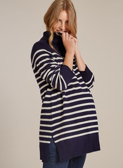 Isabella Oliver JOLIE MATERNITY STRIPE TURTLENECK Navy with White Stripe – pregnancy knitwear