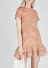 JONATHAN SIMKHAI Blush lace tiered hem mini dress – luxe occasion wear