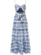 JONATHAN SIMKHAI tie-dye maxi dress in midnight print / cut-out strappy dresses