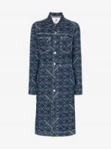 Jordache Blue Denim Mid-Length Button-Down Logo Print Coat