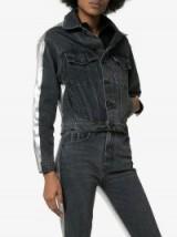 Jordache Metallic Back Cropped Denim Jacket in black and silver
