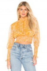 keepsake Embrace Top in Golden Floral | feminine semi-sheer crop