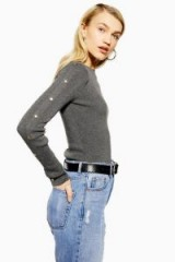Topshop Knitted Button Sleeve Top in Charcoal | essential classic knits