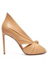 FRANCESCO RUSSO Knotted beige leather peep-toe pumps ~ luxe high-black courts