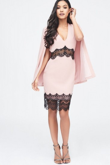LAVISH ALICE lace insert cape dress in nude – luxe style party fashion