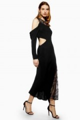 Topshop Lace Insert Maxi Dress in Black | cut-out party dresses