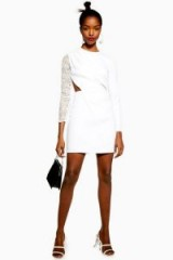 Topshop Lace Insert Mini Dress in White | cut-out evening dresses
