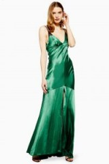 Topshop Lace Insert Slip Maxi Dress in Jade | green vintage style evening dresses