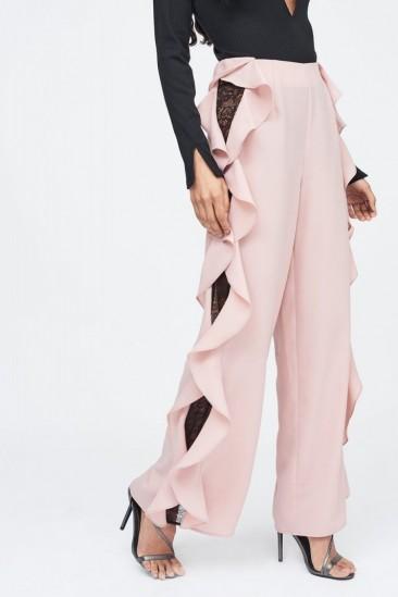 LAVISH ALICE lace insert wide leg trouser in nude – pale pink side ruffle trousers