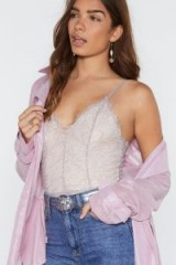 NASTY GAL Lace to the Top Bodysuit in grey ~ strappy body