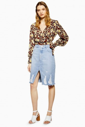 Topshop Ladder Ripped Denim Midi Skirt in Mid Stone | light blue distressed skirts
