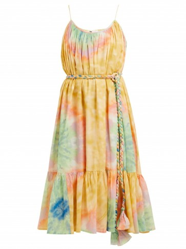 RHODE RESORT Lea tie dye-print cotton midi dress / thin strap summer dresses