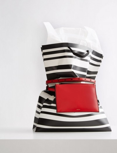 JOSEPH Leather Montmartre Bag in Red | belt/crossbody bags