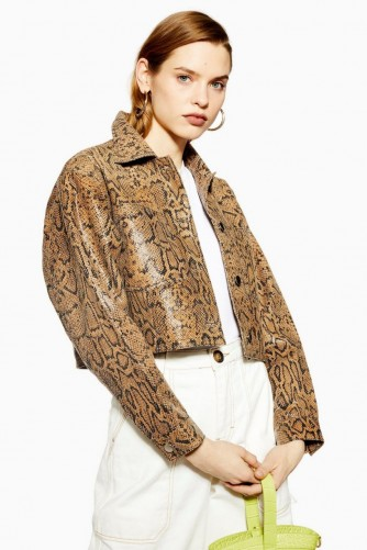 TOPSHOP Leather Snake Print Western Jacket in Brown