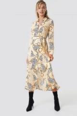 NA-KD Leopard Chain Shirt Dress Beige | animal prints