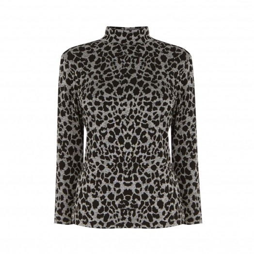 WAREHOUSE LEOPARD JACQUARD POLO NECK TOP GREY PATTERN / wild cat print tops