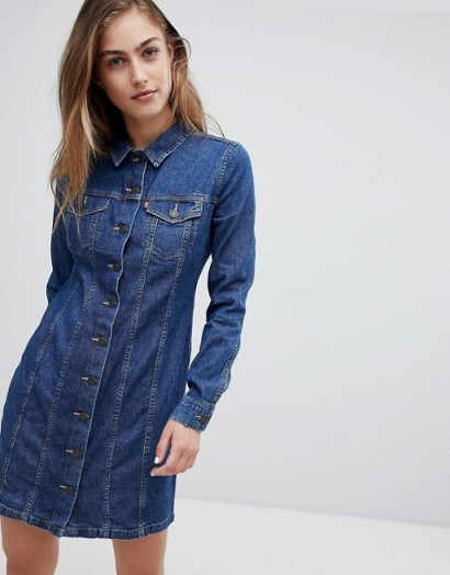 Levi's Button Through Long Sleeve Western Denim Dress in Livin' large | blue denim shirt dresses