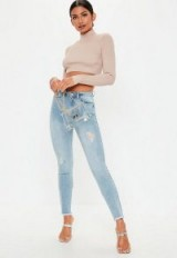 Missguided light blue denim sinner authentic distressed skinny jeans | ripped skinnies