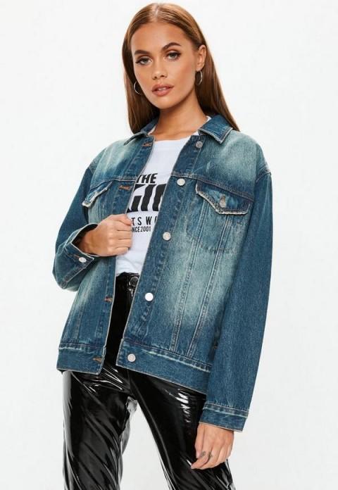 Missguided light blue oversized boyfriend denim jacket | vintage style jackets